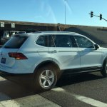 2016 VW Tiguan LWB rear three quarters spy shot