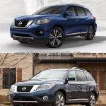 2017 Nissan Pathfinder (facelift) vs. 2013 Nissan Pathfinder front three quarters