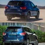 2017 Nissan Pathfinder (facelift) vs. 2013 Nissan Pathfinder  rear three quarters