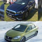 (Maruti) Suzuki S-Cross facelift vs Older model front three quarter Old vs New