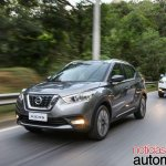 Nissan Kicks official image front three quarters left side driving shot