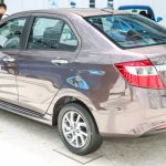 Perodua Bezza sedan rear three quarter launched for sale in Malaysia