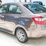 Perodua Bezza sedan rear three quarter launched for sale in Malaysia