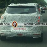 Ssangyong Tivoli compact SUV rear spied in Chennai