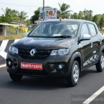 Renault Kwid 1.0 MT front thee quarter left dynamic First Drive Review