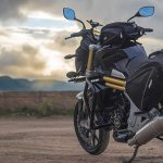 Mahindra Mojo Tourer Edition rear three quarters standstill