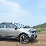 Tata Hexa XTA AT front quarters Review