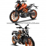 2017 KTM Duke 390 vs. 2013 KTM Duke 390 front three quarters studio image
