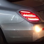 2017 Mercedes S-Class (facelift) silver rear quarter panel spy shot