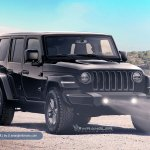 2018 Jeep Wrangler Unlimited black front three quarters rendering