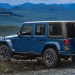 2018 Jeep Wrangler Unlimited blue rear three quarters rendering