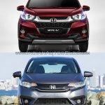Honda WR-V vs. Honda Jazz front comparo