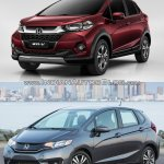 Honda WR-V vs. Honda Jazz front quarter comparo