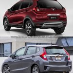 Honda WR-V vs. Honda Jazz rear quarter comparo