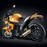 Mahindra Mojo Sunburst Yellow rear three quarters