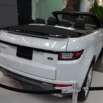 Range Rover Evoque Convertible rear three quarters at 2016 Bogota Auto Show