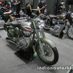 Royal Enfield Classic Battle Green P-40 Tiger Shark front three quarter at Thai Motor Expo