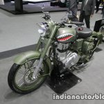 Royal Enfield Classic Battle Green P-40 Tiger Shark front three quarter left at Thai Motor Expo
