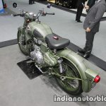 Royal Enfield Classic Battle Green P-40 Tiger Shark rear three quarter left at Thai Motor Expo
