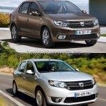 2017 Dacia Logan sedan vs 2012 Dacia Logan sedan front quarter Old vs New
