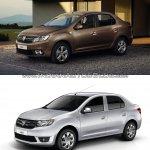 2017 Dacia Logan sedan vs 2012 Dacia Logan sedan front three quarter Old vs New