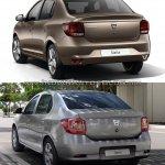 2017 Dacia Logan sedan vs 2012 Dacia Logan sedan rear Old vs New