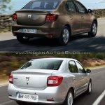 2017 Dacia Logan sedan vs 2012 Dacia Logan sedan rear quarter Old vs New