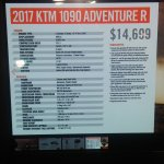 KTM 1090 Adventure R spec sheet at New York IMS