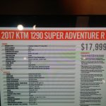 KTM 1290 Super Adventure R spec sheet at New York IMS