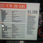 KTM Duke 390 spec sheet at New York IMS live