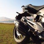 Bajaj Dominar 400 exhaust and footpegs