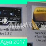 2017 Toyota Agya TRD S (facelift) audio system and ORVM