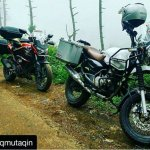 Bajaj Pulsar modified as Royal Enfield Himalayan front three quarter view