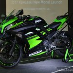 Kawasaki Ninja 300 front three quarter and side at India launch
