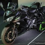 Kawasaki Ninja 650 black front three quarter at India launch
