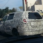 Mahindra U321 MPV (Toyota Innova rival) rear quarter spied on test