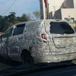 Mahindra U321 MPV (Toyota Innova rival) rear quarter spied on test