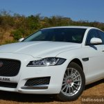 New Jaguar XF 2.0 Diesel Pure front quarter close Review
