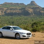 New Jaguar XF 2.0 Diesel Pure front three quarter far Review
