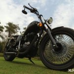 Royal Enfield Classic 350 Multi Spoke Bobber by XLNC Customs front three quarter right