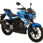 Suzuki GSX-S150 blue front three quarter