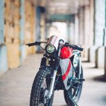 Yamaha RX100 modified as cafe racer by Ironic Engineering front view