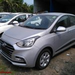 2017 Hyundai Xcent SX (facelift) front three quarter snapped at a stockyard