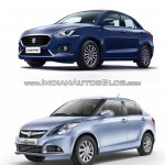 2017 Maruti Dzire vs 2015 Maruti Swift Dzire front three quarter Old vs New