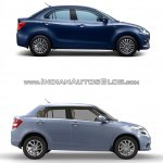 2017 Maruti Dzire vs 2015 Maruti Swift Dzire profile Old vs New