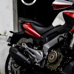 Bajaj Dominar 400 custom wrap by Dhana Stickers exhaust