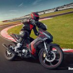 Benelli RFS150i motion lean at track Malaysia launch