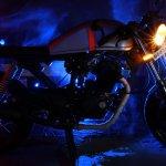 Hero Karizma cafe racer by Bullard Customs side view with lights