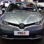 MG5 sedan front at 2017 Bangkok International Motor Show