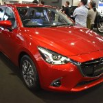 Mazda2 hatchback front three quarters right side at 2017 Bangkok International Motor Show